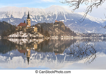Church of the Assumption on the island in lake Bled