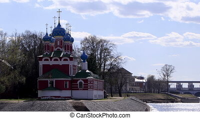 Church of the Dmitry in Uglich, Russia. Time lapse.