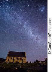 Church of The Good Shepherd and the Milky Way, Lake Tekapo,...