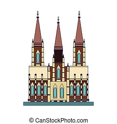 church of the holy family icon, flat design