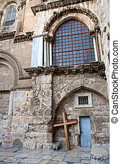 Crosses at the Church of the Holy Sepulchre. These crosses are used by pelgrims to walk the same path (via dolorosa) Jesus Christ did with his cross. Jerusalem
