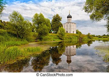 Church of the Intercession on the Nerl. Built in 12th century. Bogolyubovo, Vladimir region, Golden Ring of Russia
