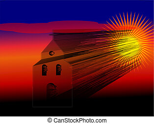 Church of the many lines at sunset