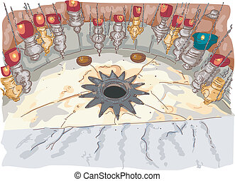 Church of the Nativity - Illustration Featuring the Grotto...