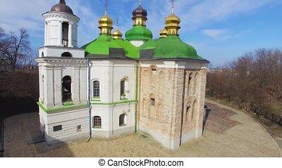 Church of the Savior on Berestove in Kiev-Pechersk Lavra aerial view