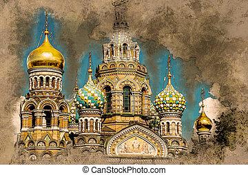 Church of the Savior on Blood in Saint-Petersburg, Russia....