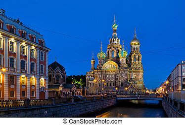 Church of the Saviour on Spilled Blood in white night, St. Petersburg, Russia
