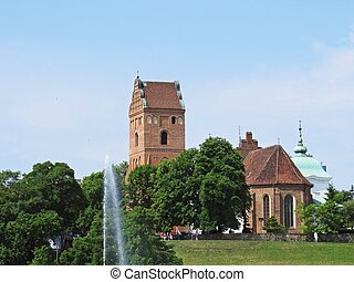 Church of the Visitation of the Blessed Virgin Mary Seen from River Bank, Warsaw, Poland