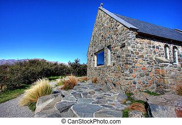 Church on a blue lake