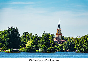 Church on a lake in Templin, Germany