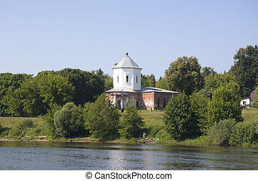 Church on a river shore