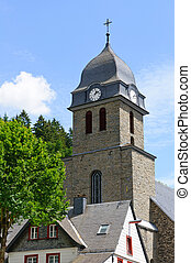Church on a square of Monschau, Ger