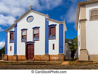 church on a streets of the historical town Tiradentes Brazil...