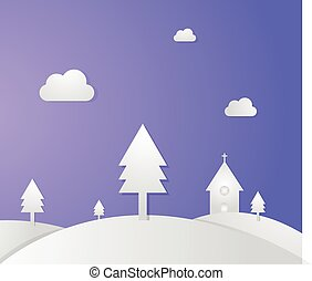 Church on hills and Pine with paper style vector illustration. Winter scene with church.