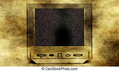 Church on old vintage tv set