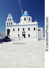 Church and Belltower in Oia, Santorini, Greece
