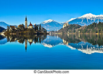 Lake Bled - Church on the island in the Lake Bled.