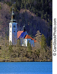 island of Lake BLED in SLOVENIA