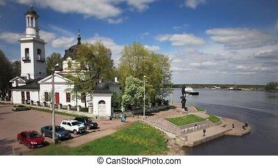 Church on the river bank Tilt