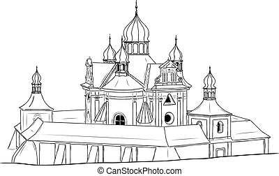 church on the white background