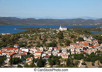 Church on top of a hill in Croatian town Murter