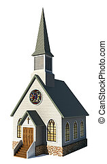 A Church isolated on a white background