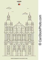 Church or Monastery of Sao Vicente de Fora in Lisbon, Portugal. Landmark icon in linear style