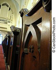 Church organ and pews.