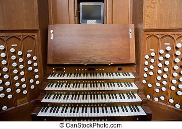 Church Organ Console - Console for the pipe organ in Bath...