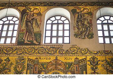 Church painting: Bethlehem, Israel - March 21, 2018