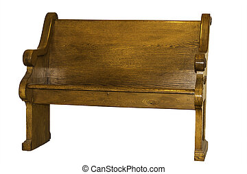 A brown wooden church pew isolated on a white background.