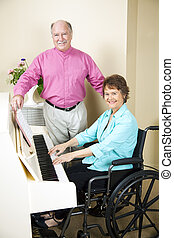 Church Pianist in Wheelchair - Pretty church pianist in...
