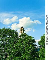 church - cylindrical dome of church against the blue sky
