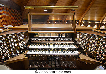 Church Pipe Organ Keyboards Pedalboard and Control Buttons