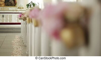 Church ready for wedding ceremony