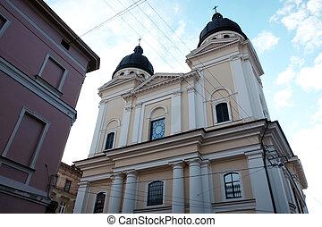 Church, religion. Street in the city of Lviv Ukraine 03.15.19