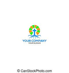 Church Root Puzzle Logo Design Vector