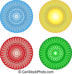 Church rosettes illustration - 4 colors church style...
