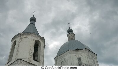 church russian orthodox domes against the sky blue slow motion video