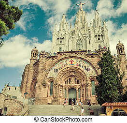 Church Sacred Heart.Tibidabo. Barcelona. - SPAIN - AUGUST...
