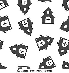 Church sanctuary seamless pattern background. Business flat vector illustration. Church sign symbol pattern.