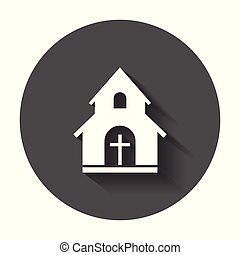 Church sanctuary vector illustration icon. Simple flat pictogram for business, marketing, mobile app, internet with long shadow.