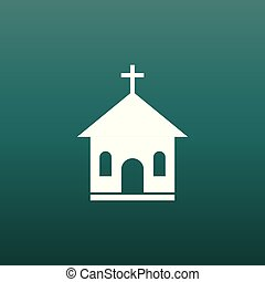 Church sanctuary vector illustration icon. Simple flat pictogram for business, marketing, mobile app, internet on green background