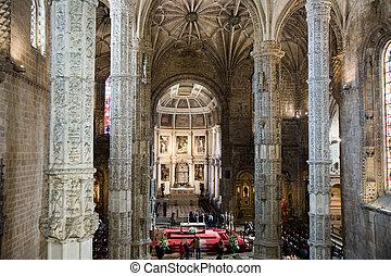 church Santa Maria in the beautiful Jeronimos Monastery in ...