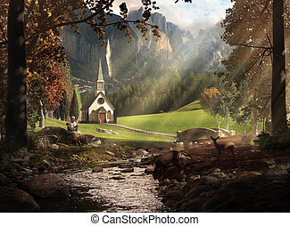 A lush landscape showing a monk sitting and reading next to deer with a river flowing out to a field with bridge crossing over to a church against swiss alp type mountains.