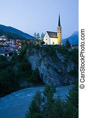 Church Scuol - The late Gothic church of Scuol in Engadine,...