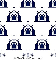 Church seamless pattern background. Vector graphic design illustration