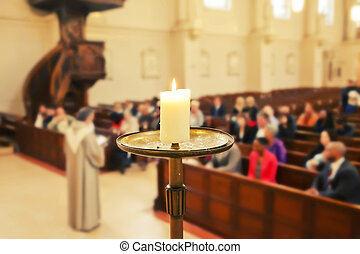 Church service  - candle by Church service background