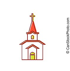 Church sign Catholic Christian house religion. Vector illustration
