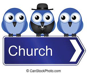 church sign - Comical church sign isolated on white...